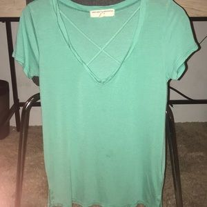 Teal top with neck design